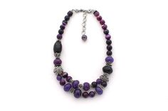 Purple & Black Agate Carlita #Necklace tow Rows. Code : MS00022 with Price : 2225 LE.goo.gl/55MpIl