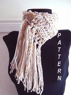 Easy Beginner Jumbo Fringe Scarf Pattern $