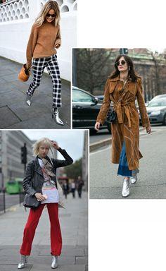 Street style look com bota metálica. Se no verão a tendência metalizada deu o que falar, no inverno não será diferente. As botas metálicas carregam consigo todo um ar de estilo e modernidade, ou seja, com elas, looks boring, jamais!