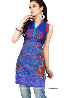 Beautifully designed blue shade cotton tunic/kurti for this summer. Readymade sleeveless tunic/kurti available till bust size of 40 inch. Embroidered neck yoke with multi pattern prints, which gives it trendy look. You can wear it with jeans as well as matching legging. Recommended for college and office going girls. Price: $30.00. Click here to buy: http://goodbells.com/kurtis/printed-navy-blue-short-tunic-kurti.html?utm_source=pinterest_medium=link_campaign=pin11julyR28P52