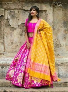 Love this contrast pink and mustard banarasi lehenga. Indian Attire, Indian Ethnic Wear, Indian Dresses, Indian Outfits, Indian Clothes, Banarasi Lehenga, Indian Lehenga, Brocade Lehnga, Black Lehenga