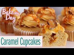 Salted Caramel Cupcakes (Karamell Cupcakes) | BakeMyDay - YouTube