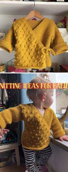 Kimono Jacke - kostenlose Anleitung - Free Knitting Patterns # Knitting Patterns For Women Baby Sweater Patterns, Knit Baby Sweaters, Blanket Patterns, Knitting Patterns Free, Free Knitting, Knitting Ideas, Beginner Knitting, Knitting Projects, Knitting Stitches