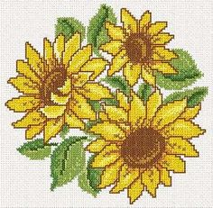 Cross Stitch Sunflower Embroidery Design
