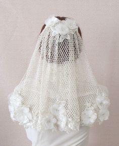 100% Handmade Crochet  Wedding Veil Bridal Veils. $225.00, via Etsy.