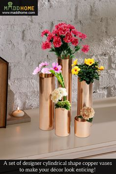 Cylindrical Shaped Aluminium Lacquered #Vase - Perfect decor piece for your #home.