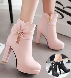 White/Pink/Black Pastel Bow High Heel Boots Source by rdwijulianto shoes high heels Cute Heels, Lace Up Heels, Fashion Heels, Fashion Boots, Latex Fashion, Lila Outfits, Heels Outfits, Heeled Boots, Shoe Boots