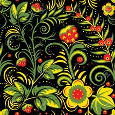 The Traditional Russian Floral Seamless Background (red, Yellow.. Royalty Free Cliparts, Vectors, And Stock Illustration. Pic 20246109.