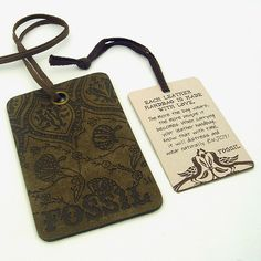 Purse Hang Tags for Fossil by Julz. Stamped Leather Tag and also one that's chip board