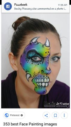 When you think about face painting designs, you probably think about simple kids face painting designs. Many people do not realize that face painting designs go Dinosaur Face Painting, Monster Face Painting, Dragon Face Painting, Face Painting For Boys, Easy Halloween Face Painting, Halloween Make Up, Face Painting Tutorials, Face Painting Designs, Mime Face Paint