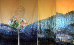 "Wura-Natasha Ogunji ""Statues Also Love"", Thread & ink on trace paper, 4 panels (60 x 24 inches each), 2015."