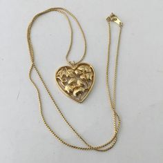 Crown Trifari Heart Necklace Floral Heart Pendant Gold by ravished