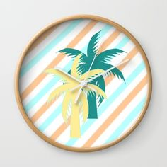 #Decorate any room with a colorful #palmtree #clock #society6