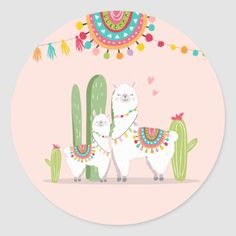Shop Llama Baby Shower Alpaca Fiesta Mexican Cactus Classic Round Sticker created by Anietillustration. Llama Drawing, Cactus Drawing, Llama Alpaca, Baby Alpaca, Alpacas, Mexican Babies, Llama Birthday, Cute Llama, Personalized Note Cards