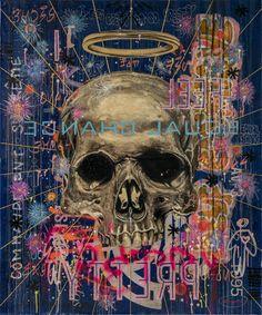 Jose Luis Ferragut - Skull - 2016, oil paint, resin and ink on spanish mailbag canvas. 120 X 100 CM.