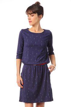 Robe droite ajustée avec ceinture Tourmaline Bleu / Marine Sessun sur MonShowroom.com