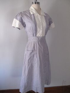 1940s Nurses Uniform Stripes