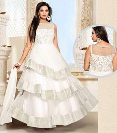 Posh Pearl White Multi Layered Anarkali Suit