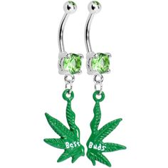 Best Buds Pot Leaf Best Friends Belly Ring Set $13.99 lol haha im not piercing my belly but they are cute @Elisa Rosell