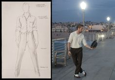 Costume sketch of Sebastian played by Ryan Gosling from designer Mary Zophres. His black and white leather shoes were chosen so he could dance in them. From the Hollywood Reporter.