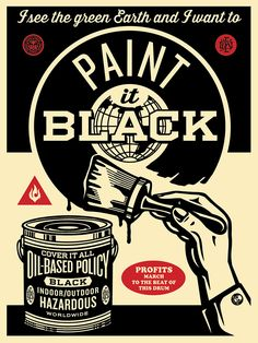"Shepard Fairey - Street Art - ""Paint It Black (Brush)"" Art Print ) Shepard Fairey Obey, Obey Art, Illustration Photo, Cultura Pop, Concert Posters, Event Posters, Street Artists, Banksy, Oeuvre D'art"