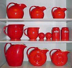 50's Orange Red : Beautiful deep glaze. Hall China Refrigerator ware and Kitchen ware