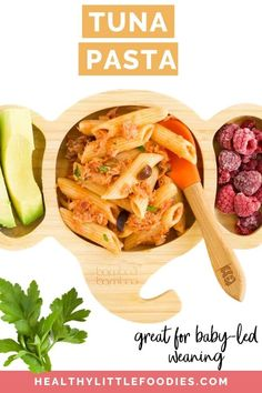 This tuna tomato pasta dish is a great family meal. Perfect for baby-led weaning and loved by kids of all ages. Easy to make with pantry ingredients. Make ahead instructions included. Pasta Recipes For Kids, Baby Food Recipes, Healthy Recipes, Toddler Recipes, Healthy Food, Dinner Recipes, Healthy Toddler Meals, Kids Meals, Easy Meals