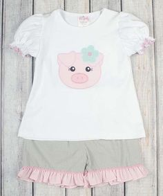 Take a look at this Stellybelly White & Gray Pig Tee & Ruffle Shorts - Infant, Toddler & Girls today!