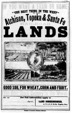 1870s poster advertising the Santa Fe railroad land.