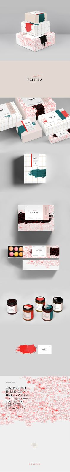 Emilia Pasteleria Artesanal Packaging by Karla Heredia Martinez Logo Design, Web Design, Graphic Design Branding, Label Design, Identity Design, Brand Identity, Package Design, Brand Design, Brochure Design
