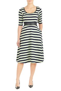 Striped matte jersey fashions our flattering fit-and-flare dress with contrast piped trim at the scoop neck and cinched in at the high waist with faux leather banding.