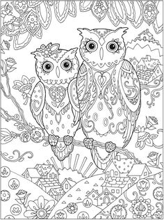 Owl Love Married Husband Wife Abstract Doodle Zentangle Coloring pages colouring adult detailed advanced printable Kleuren voor volwassenen coloriage pour adulte anti-stress kleurplaat voor volwassenen http://www.doverpublications.com/zb/samples/796647/sample6d.html