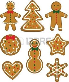 Christmas cookies set  Paistry shaped man, woman, tree, bauble, star, snowflake, snowman and heart Vector