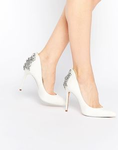 Ted Baker | Ted Baker Mieon Tie The Knot Bridal Embellished Heel Leather  Court Shoes at