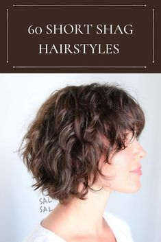 60 Short Shag Hairstyles That You Simply Can't Miss Curly hair queens can also get a bob cut. Texture makes a shag hair cut appear delicate, and gives more leeway if you don't want to style ha Shaggy Bob Hairstyles, Short Shaggy Haircuts, Shaggy Short Hair, Haircuts For Curly Hair, Curly Hair Cuts, Short Hair Cuts, Round Face Haircuts, Hairstyles Videos, Short Layered Curly Hair