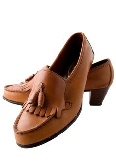 Vintage Trotters Heeled Moccasins. Moccasins, 1970sMarked Size 7Suede upper, man-made heel, fringe detailSole shows slight wear This is a vintage, One of a Kind item.  #modcloth