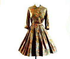 1950s Dress Vintage Shirtwaist SILK PAISLEY Fall Jewel Colors Bust 42 by LilBlackDressVintage on Etsy