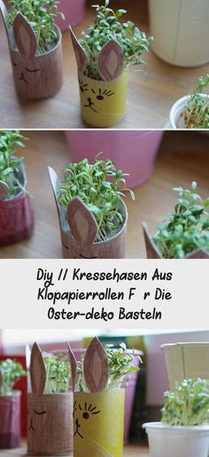 DIY // Cress bunnies made from toilet paper rolls for the Easter decoration are made by sisters Toilet Paper Roll Crafts, Paper Crafts, Easter Plants, Diy For Kids, Crafts For Kids, Planting For Kids, Easy Easter Crafts, Garden Crafts, Easy Peasy