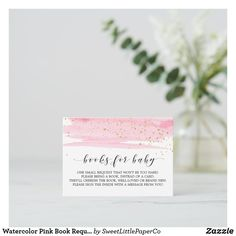 Watercolor Pink Book Request Invitation Insert Baby Sprinkle Invitations, Baby Shower Invitations For Boys, Watercolor Texture, Pink Watercolor, Baby Shower Balloons, Templates Printable Free, Wedding Announcements, Papers Co, Zazzle Invitations