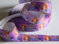 """Sofia the First Grosgrain Ribbon 5 yards of 1"""" Purple Ribbon with Crown for Princess Birthday Party Disney Princess Theme Costume Favor Tie by HouseofHairDecor on Etsy"""
