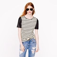 J. Crew Leather-Sleeve Top in Stripe Like new condition! J. Crew Tops