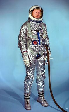 Neil Armstrong wearing an early G-2C Gemini suit, 1964. This is the type of suit worn in the first U.S. space walks.
