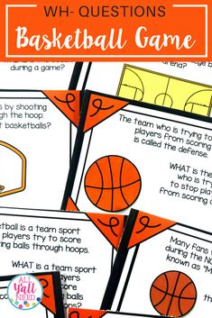 A WH- Questions Game targets WH- questions with answers provided in the text. It addresses listening for what, who, when, and where information. This unit is perfect for basketball season, whether it's youth league, March Madness, or the NBA playoffs. This product includes:40 game cards, B&W homework page for easy printing and copying, data collection pages. #WHQuestions #BasketballActivites #SpeechTherapyActivities #SpringActivities Speech Therapy Activities, Language Activities, Literacy Activities, Teaching Resources, Receptive Language, Speech And Language, Language Arts, Game Cards, Card Games