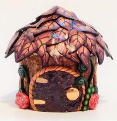 Tooth Fairy Home: Tiny Peach and Violet Fairy Jar by MiniWhimsies Mini Fairy Garden, Fairy Garden Houses, Fairy Gardens, Mini Gardens, Clay Fairy House, Polymer Clay Fairy, Magic House, Creation Crafts, Fairy Jars