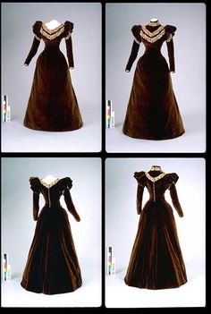 Day dress, 1890-95, cut on princess lines; boned and fully lined. I don't think it has two bodices, just a collar insert to change it from a shallow V-neck to a high-neck. Passementerie trim on bodice, high neck, and upper sleeves. Closes in back with 2 hooks and 15 buttons. Canadian Museum of Civilization.