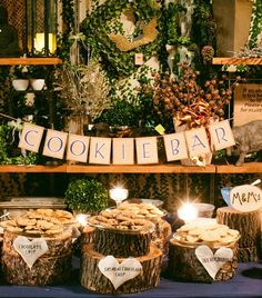 cookie bar reception | Cookie Bar at a rustic wedding reception | future wedding ideas this will happen!!