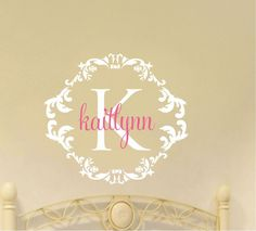 Baby Girl Damask Name Wall Decal Nursery Decor by AllOnTheWall, $30.00