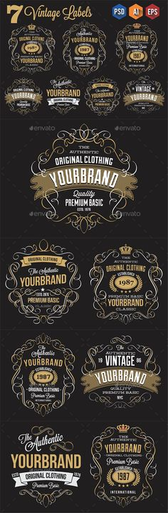 DESCRIPTION Vintage label design made with 100 vector & photoshop that the elements are great for use any design project, on the Badge Design, Label Design, Ux Design, Vintage Labels, Vintage Logos, Retro Logos, Vintage Typography, Typography Design, Lettering