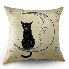 Moslion Cats Moon Throw Pillow Cover Pillow Case Black Cat Sits on The Moon Face Star Cotton Linen Pillow Case 18 x 18 Inch Cushion Cover for Sofa Living Room Light Brown - Lovely Novelty Fall Pillows, Linen Pillows, Decorative Throw Pillows, Square Pillow Covers, Sofa Pillow Covers, Sofa Bed Blue, Cat Pillow, Pillow Room, Living Room Pillows