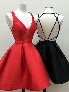 A Line Backless Short Red / Black Prom Dress, Short Red / Black Graduation Dress, Homecoming Dresses Homecoming Dresses Under 100, Cheap Short Prom Dresses, Cute Prom Dresses, Black Prom Dresses, Junior Dresses, Sexy Dresses, Evening Dresses, Prom Gowns, Backless Dresses